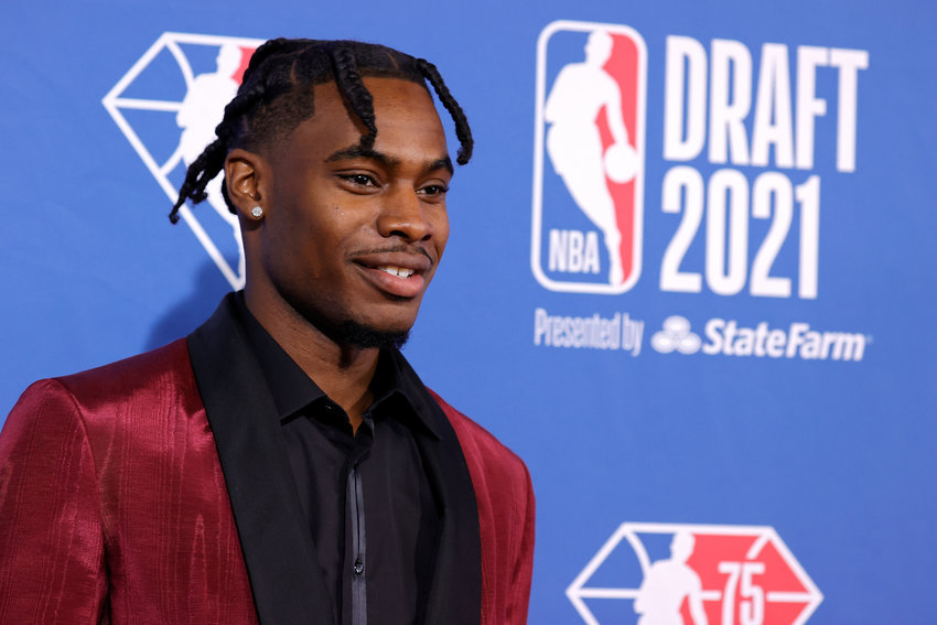 Davion Mitchell on the red carpet during the NBA Draft at the Barclays Center on Thursday, July 29, 2021 in New York. (Arturo Holmes/Getty Images/TNS)
