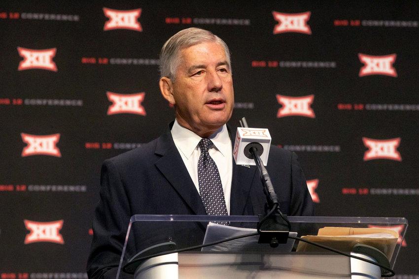 Big 12 commissioner Bob Bowlsby speaks during Big 12 media days at AT&T Stadium in Arlington, Texas, on July 15, 2019. (Lynda M. Gonzalez/Dallas Morning News/TNS)