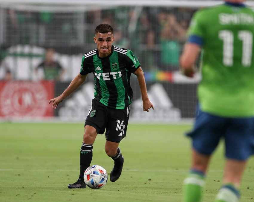 Austin FC midfielder Hector Jimenez (16) during the first half of a Major League Soccer match between Austin FC and Seattle Sounders FC July 22, 2021 in Austin, Texas. Seattle won, 1-0.