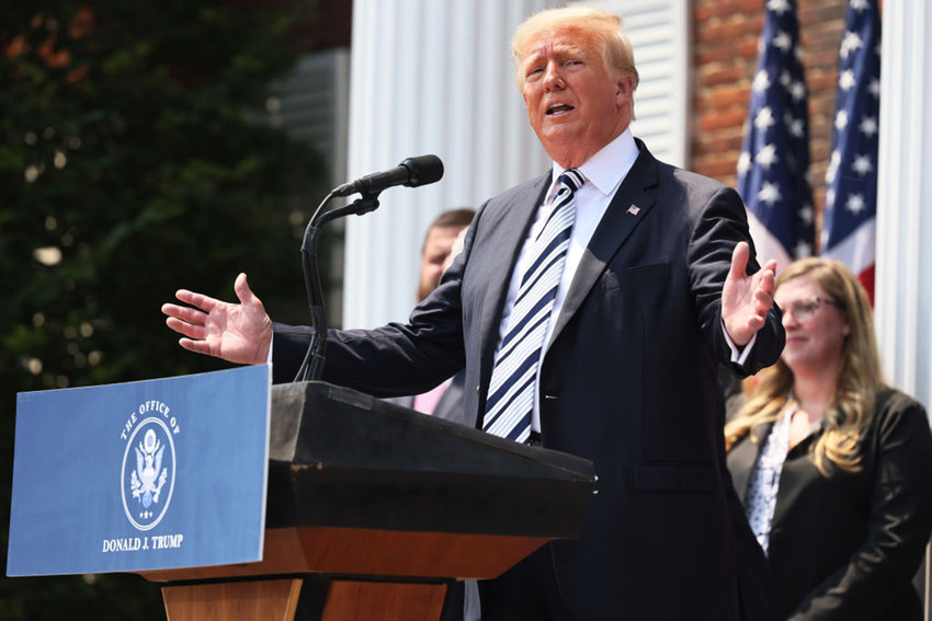 Former U.S. President Donald Trump speaks during a press conference announcing a class action lawsuit against big tech companies at the Trump National Golf Club Bedminster on July 7, 2021 in Bedminster, New Jersey. (Michael M. Santiago/Getty Images/TNS)