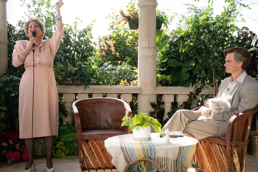 "Jessica Chastain as Tammy Faye Bakker and Andrew Garfield as Jim Bakker in the film ""The Eyes of Tammy Faye."" (Daniel McFadden/20th Century Studios/TNS)"