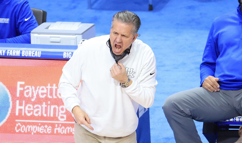 John Calipari, the head coach of the Kentucky Wildcats, gives instructions to his team against the Auburn Tigers at Rupp Arena on February 13, 2021 in Lexington, Kentucky. (Andy Lyons/Getty Images/TNS)