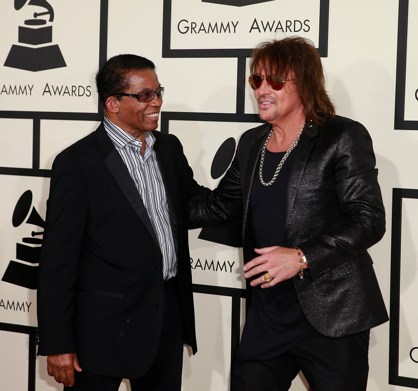 Herbie Hancock and Steve Perry arrive at the 57th Annual Grammy Awards at Staples Center in Los Angeles on Sunday, Feb. 8, 2015. (Allen J. Schaben/Los Angeles Times/TNS)