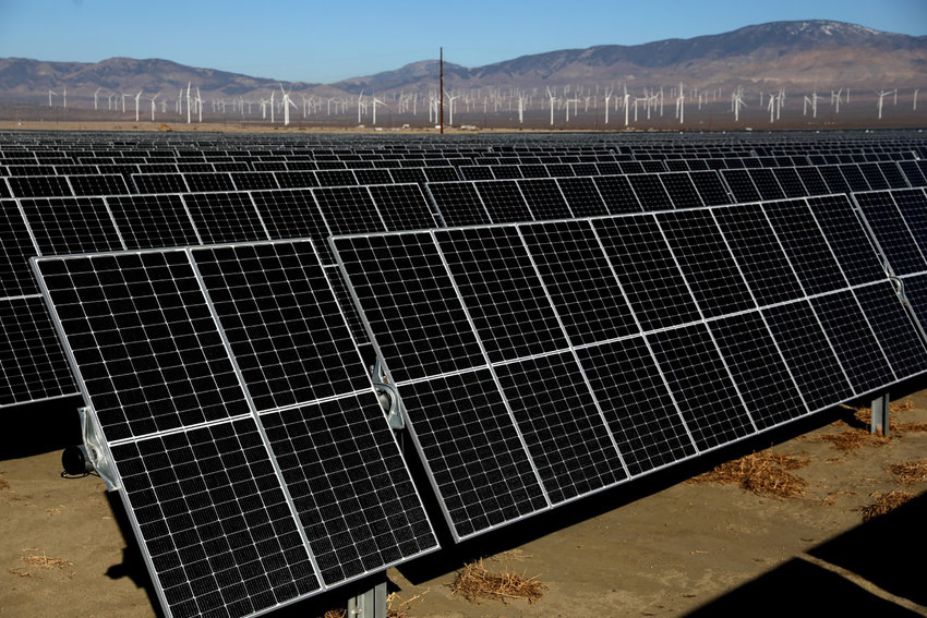 Solar panels at the newly completed Clearway Energy Group's 192 Megawatt Rosamond Central Solar Energy Facility on Feb. 4, 2021, in Rosamond, California. (Gary Coronado/Los Angeles Times/TNS)