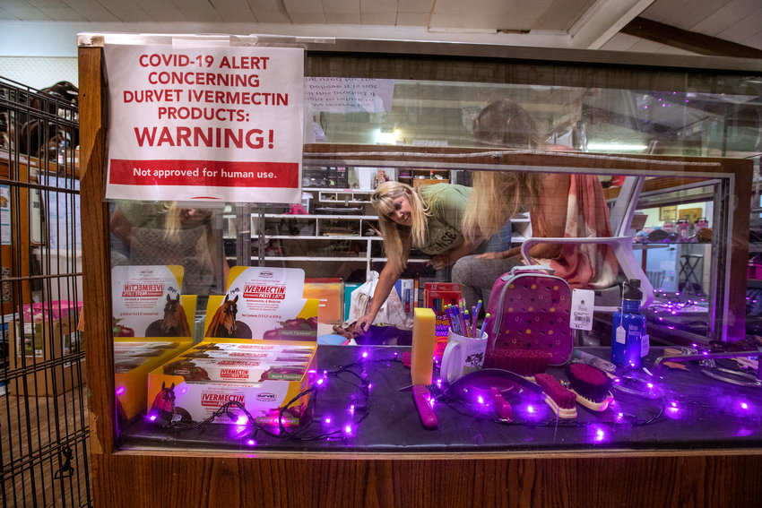 Tracey Savich, owner of Rolling Hills General Store, at her store in Rolling Hills, Calif., on September 13, 2021. Inside the display case is ivermectin, an anti-parasitic drug, commonly used to deworm horses, cows and other livestock, that has been controversially touted as a preventative and treatment for COVID-19, particularly among those who remain skeptical about the vaccine. While its efficacy against COVID-19 has been debunked, some Californians have managed to acquire prescriptions from their healthcare providers. (Mel Melcon/Los Angeles Times/TNS)