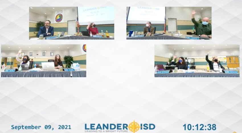 The Leander ISD Board of Trustees resolved to direct Administration to investigate additional COVID-19 mitigation resources, such as air filtration systems and outdoor lunch options.