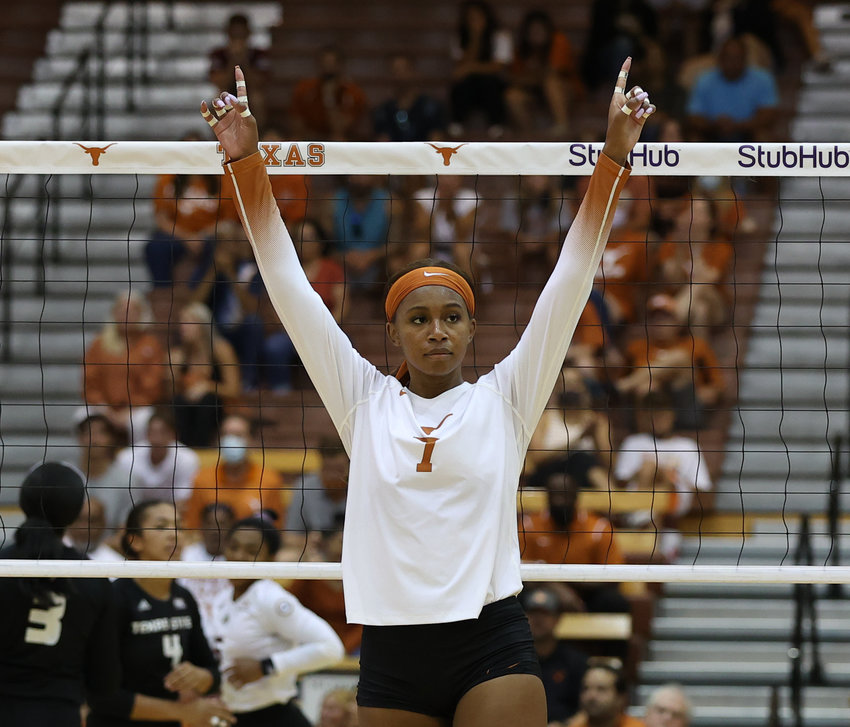 Texas Longhorns sophomore outside hitter Madison Williams (1) celebrates a point during an NCAA volleyball match between Texas and Texas State on September 7, 2021 in Austin, Texas.