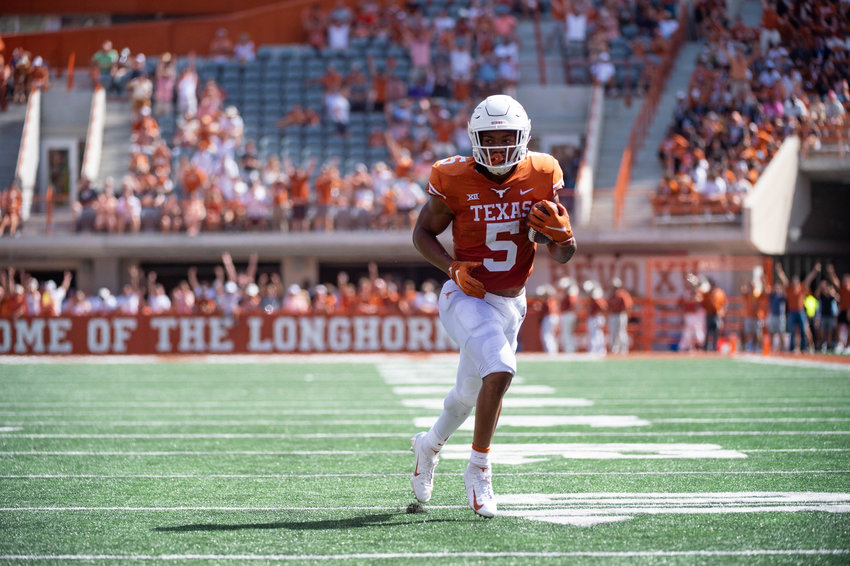 Texas running back Bijan Robinson was held to 69 yards and a touchdown in the Longhorns' 40-21 loss to Arkansas on Saturday. They host Rice on Saturday night.