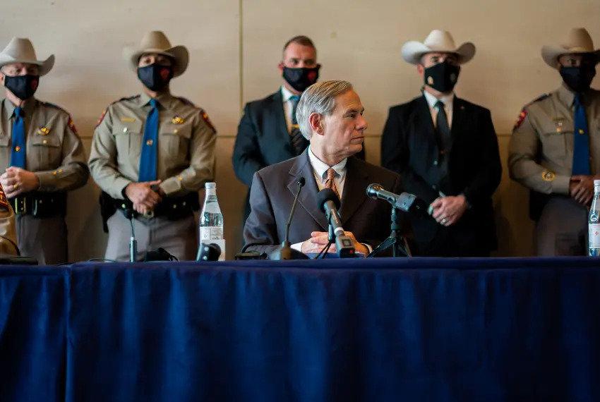 Gov. Greg Abbott at a March press conference in Dallas.