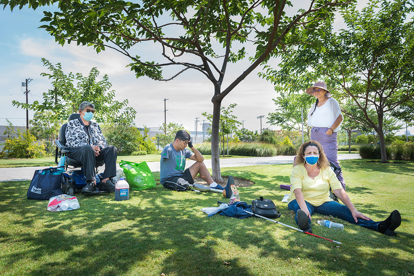 Members of Immigration With Disabilities gathered at the Los Angeles State Historic Park in late July. The pandemic has made it hard to connect in person, since traveling and transportation can be difficult. (Heidi de Marco/KHN/TNS)