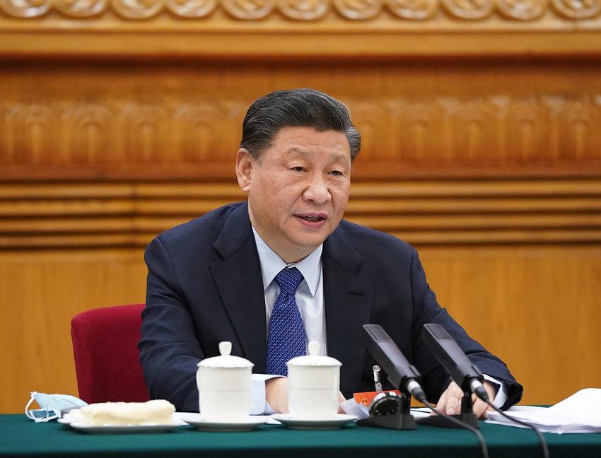 Chinese President Xi Jinping in Beijing on March 7, 2021. (Li Xueren/Xinhua/Zuma Press/TNS)