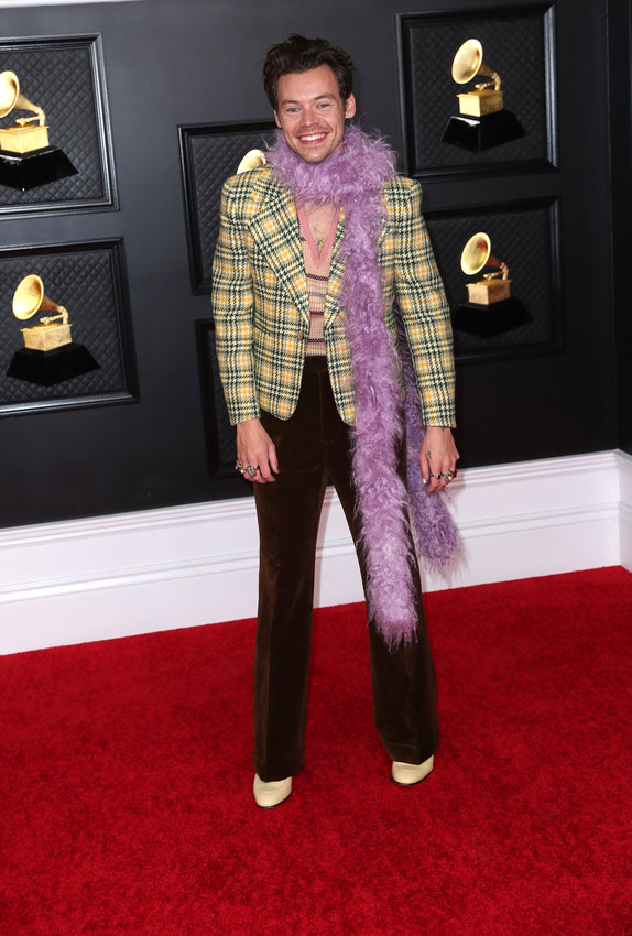 Harry Styles on the red carpet at the 63rd Annual Grammy Awards at the Los Angeles Convention Center, in downtown Los Angeles on Sunday, March 14, 2021. (Jay L. Clendenin/Los Angeles Times/TNS)