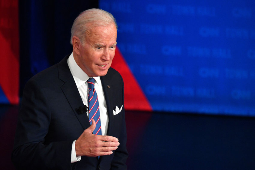 US President Joe Biden participates in a CNN town hall at Baltimore Center Stage in Baltimore, Maryland on October 21, 2021. (Nicholas Kamm/AFP via Getty Images/TNS)