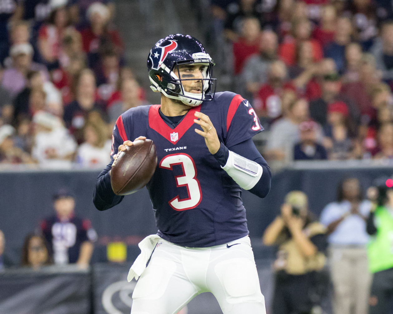 Houston Texans quarterback Tom Savage (3) drops back to pass during the first half of an NFL football game between the Houston Texans and the Cincinnati Bengals at NRG Stadium in Houston, Texas.