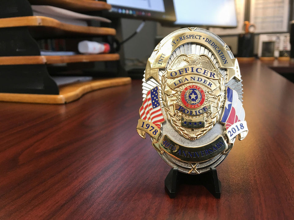 Assistant Leander Chief of Police Jeffery Hayes designed the 40th anniversary police badge that will be worn by officers starting in January 2018.