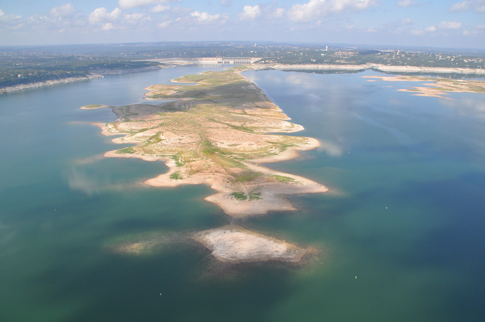 MARCH 2013: These aerial photographs of the Great Basin and Sometimes Islands of Lake Travis show the effects of the drought in Central Texas from March 2013 versus the much fuller lake in March 2016. The lake was 35 percent full in 2013, and the lake today is now 92 percent full; a difference of about 50 feet.