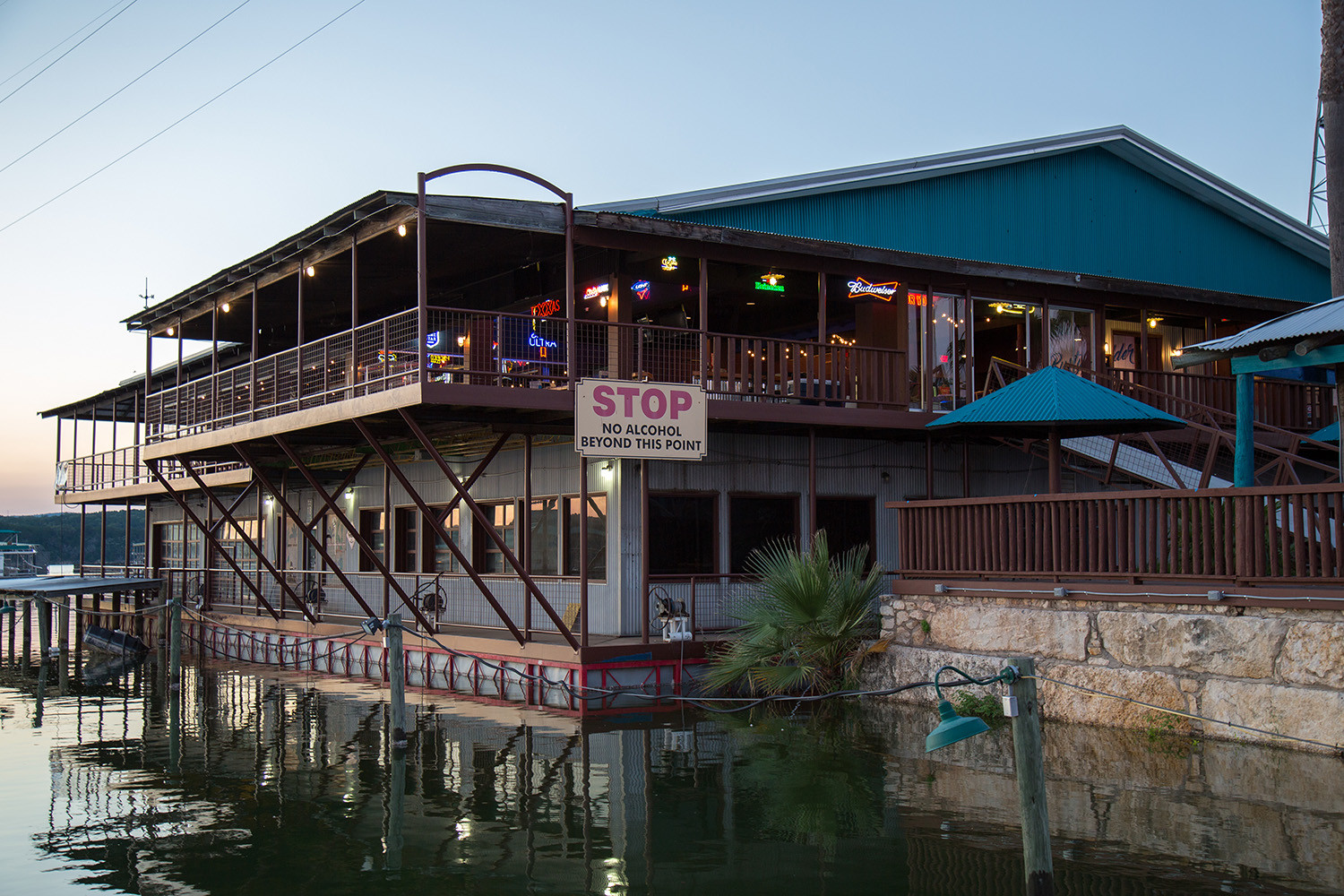 After Carlos N' Charlie's closed in September 2013 during the low lake levels, it later became Frog's at the Pond in 2015, and The Rusty Rudder in 2016 before rebranding as Ernie's on the Lake. The building has been a mainstay for lake visitors.
