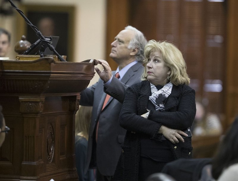 State Sen. Jane Nelson, R-Flower Mound, and Sen. Kirk Watson, D-Austin, are shown during a special session debate on July 25, 2017.
