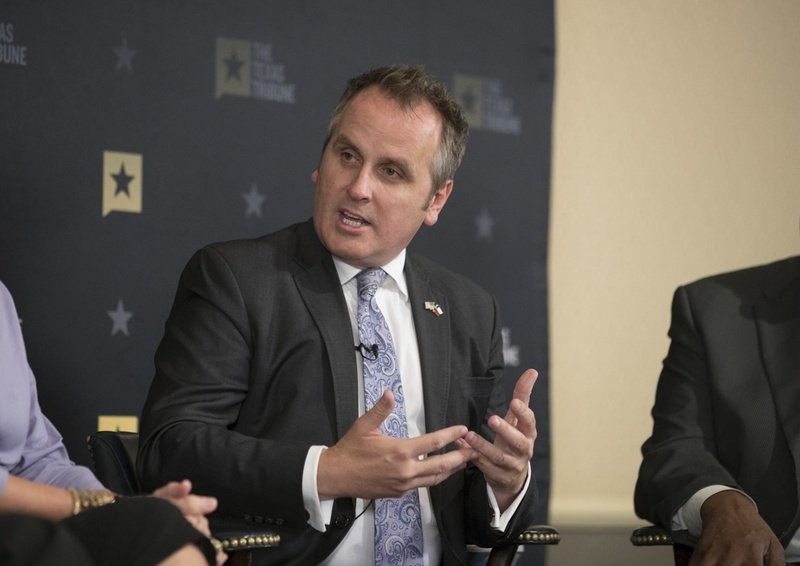 State Sen. Bryan Hughes, R-Mineola, gives his views on mandatory pre-kindergarden education while wrapping up a Texas Tribune event at the Austin Club May 25, 2017.