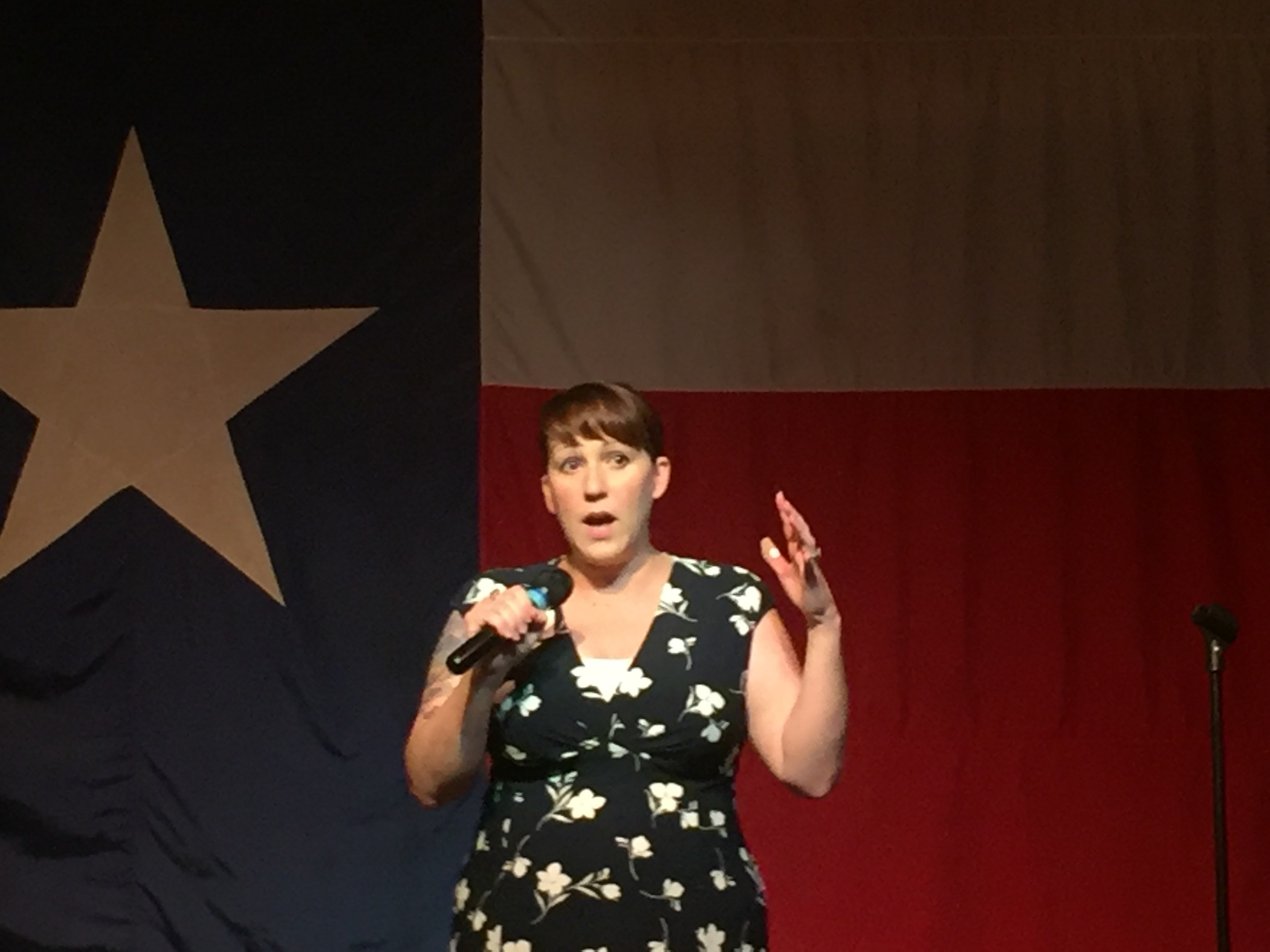 MJ Hegar, a decorated Afghanistan war hero, spoke to a cheering crowd of supporters Saturday at the Old Coupland Dance Hall. She was officially kicking off her campaign for the Democratic nomination to challenge incumbent U.S. Rep. John Rice Carter.