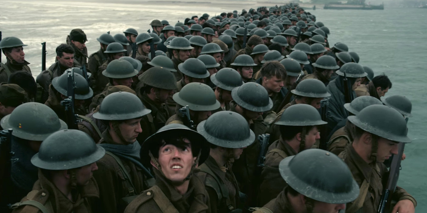 "British soldiers await extraction from a hot war zone in ""Dunkirk."""
