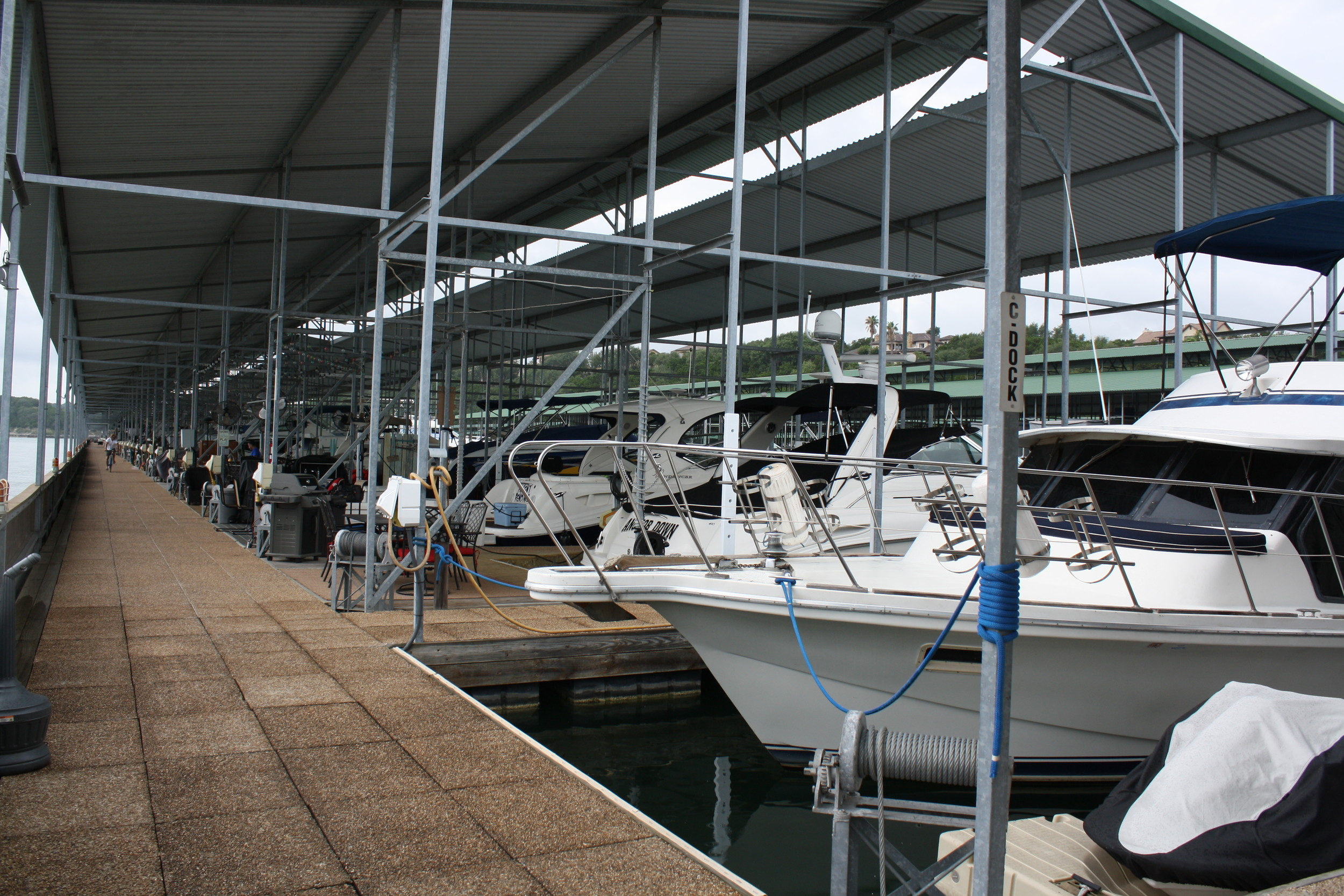 NorthShore Marina upgraded its amount of boat slips from 197 to 268 with two new docks. The marina offers large boat slips that are 80 by 20 feet wide, the largest on Lake Travis.