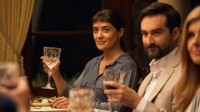 """Beatriz at Dinner"" pits Salma Hayek against a Trump clone at a dinner party from hell."