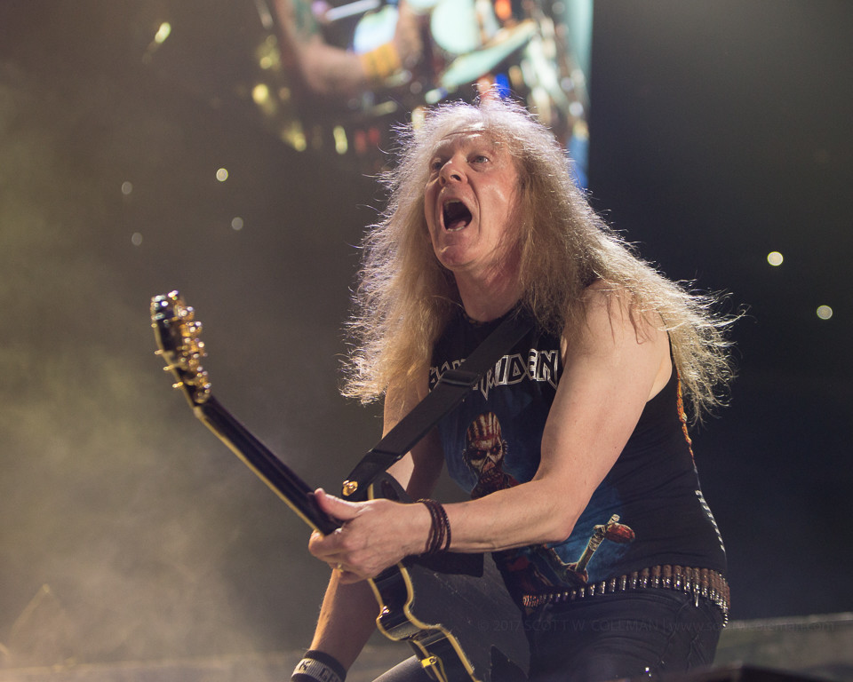 Janick Gers of Iron Maiden performs on their Book of Souls Tour at the AT&T Center in San Antonio, Texas on Saturday, June 24, 2017.