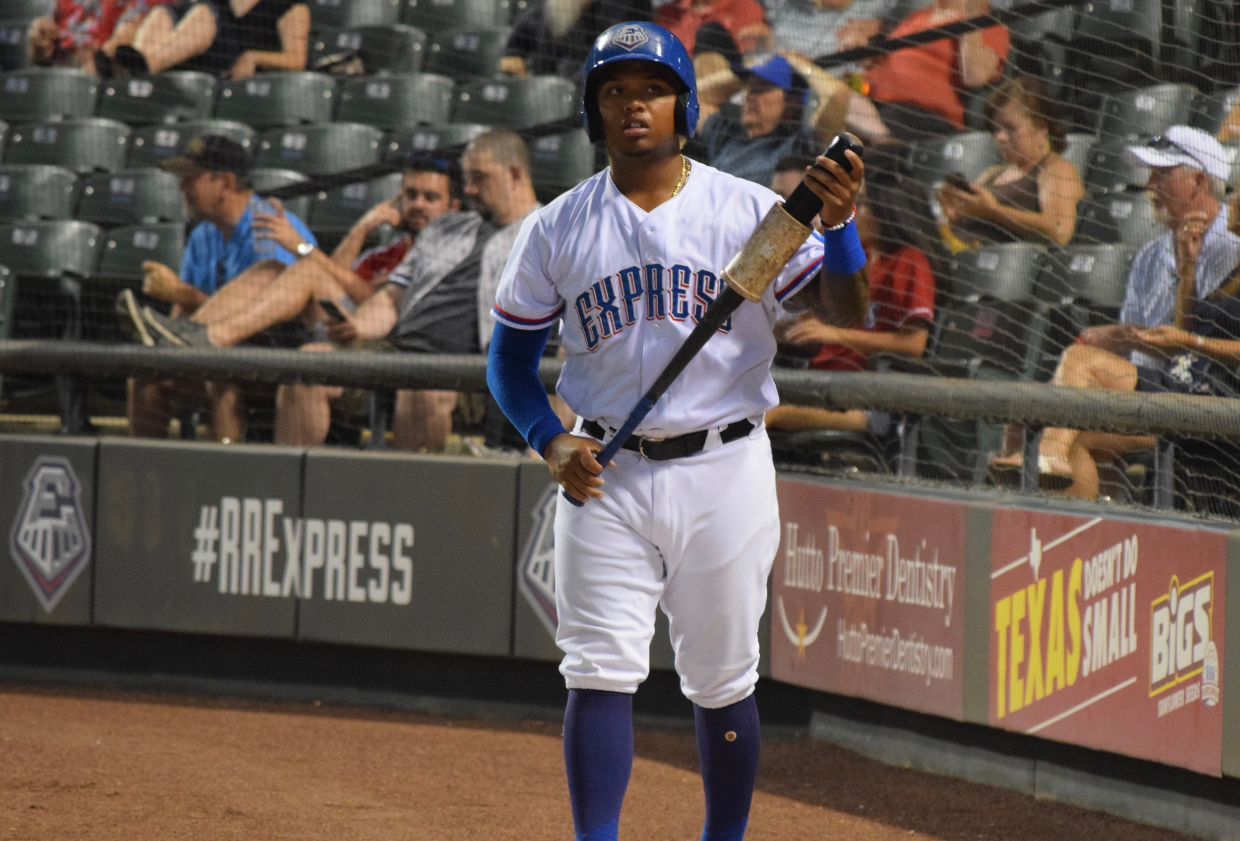 Willie Calhoun made his Round Rock debut Tuesday night and finished 0-for-4 as the Express lost to the El Paso Chihuahuas 4-0.