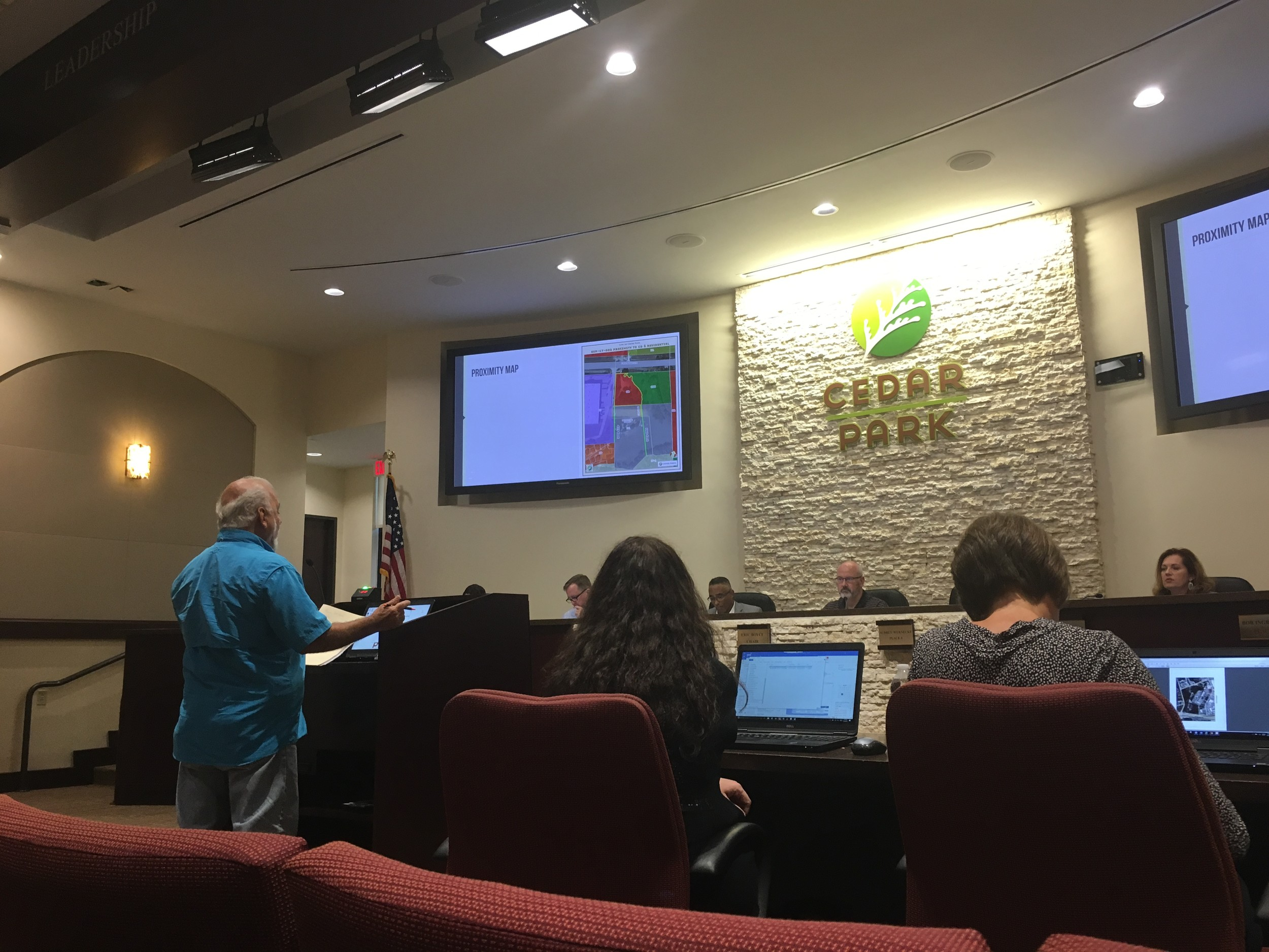 Russell Patronella makes his statement of opposition to Pet Paradise, a luxury dog kennel that was previously planned to be built about 100 feet from his private property at a Cedar Park Planning and Zoning commission meeting, Tuesday July 18.