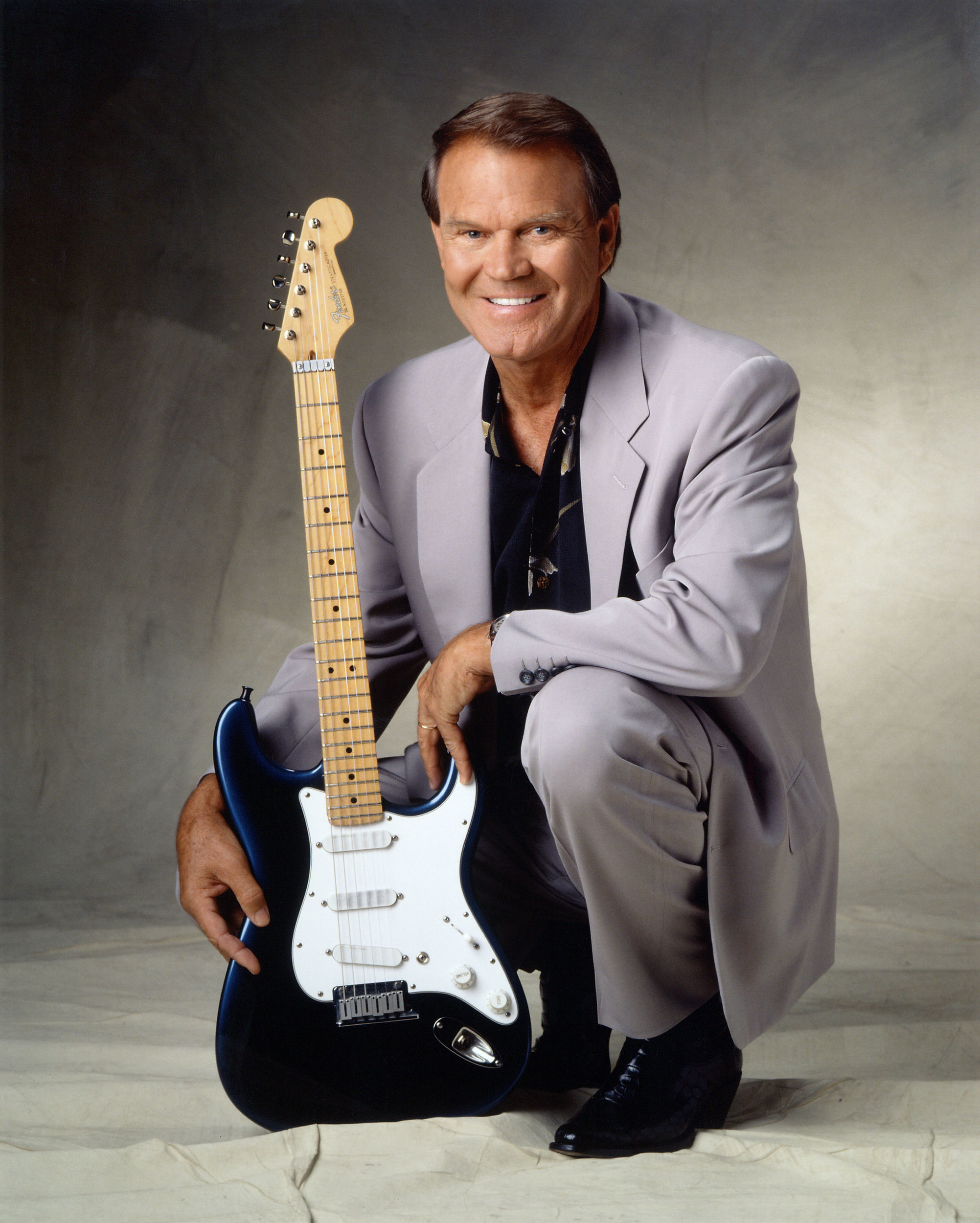 Glen Campbell in later years with his Fender Stratocaster guitar.