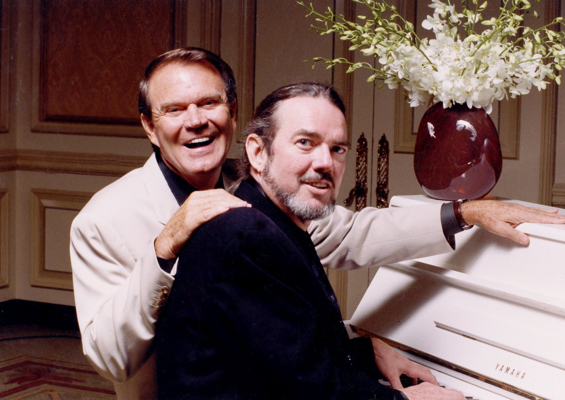 Glen Campbell with Jimmy Webb, who wrote many of Glen's major hits. This photo was taken in 2000 when they did several critically successful performances together at Feinstein's in the Regency Hotel, New York City.  They returned to Feinstein's in 2005.