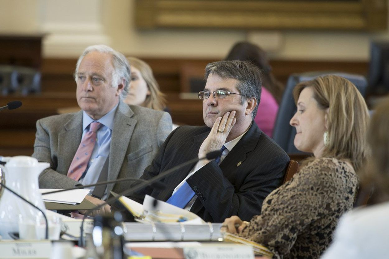 Sen. Kirk Watson (R-Austin) left, and Sen. Charles Perry (R-Lubbock) listen to witness testimony on several bills in Senate Health and Human Services Committee on April 5, 2017.