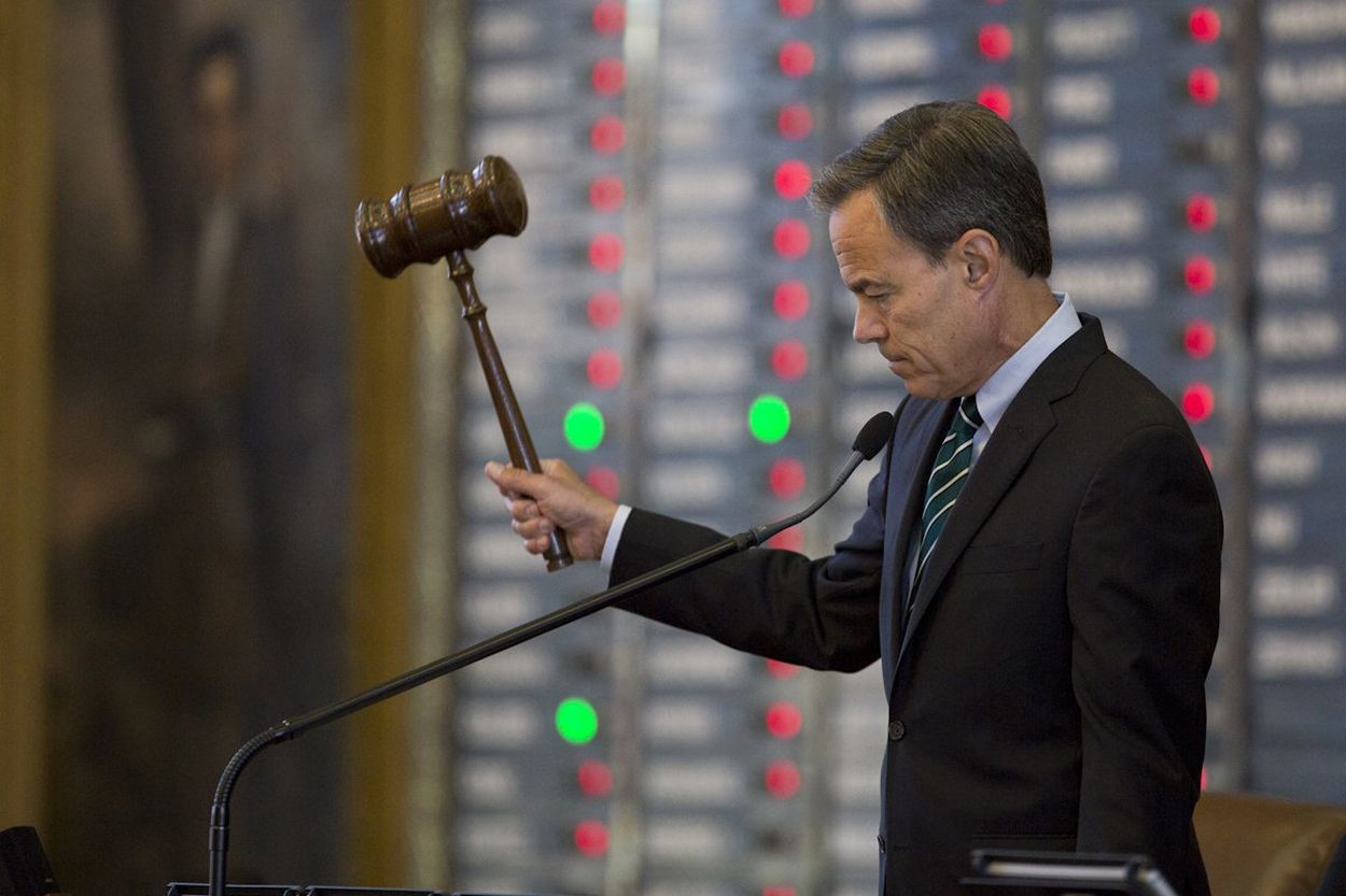 Speaker Straus hits the gavel as members vote no on an amendment on Senate Bill 1, the property tax bill, on August 12, 2017.