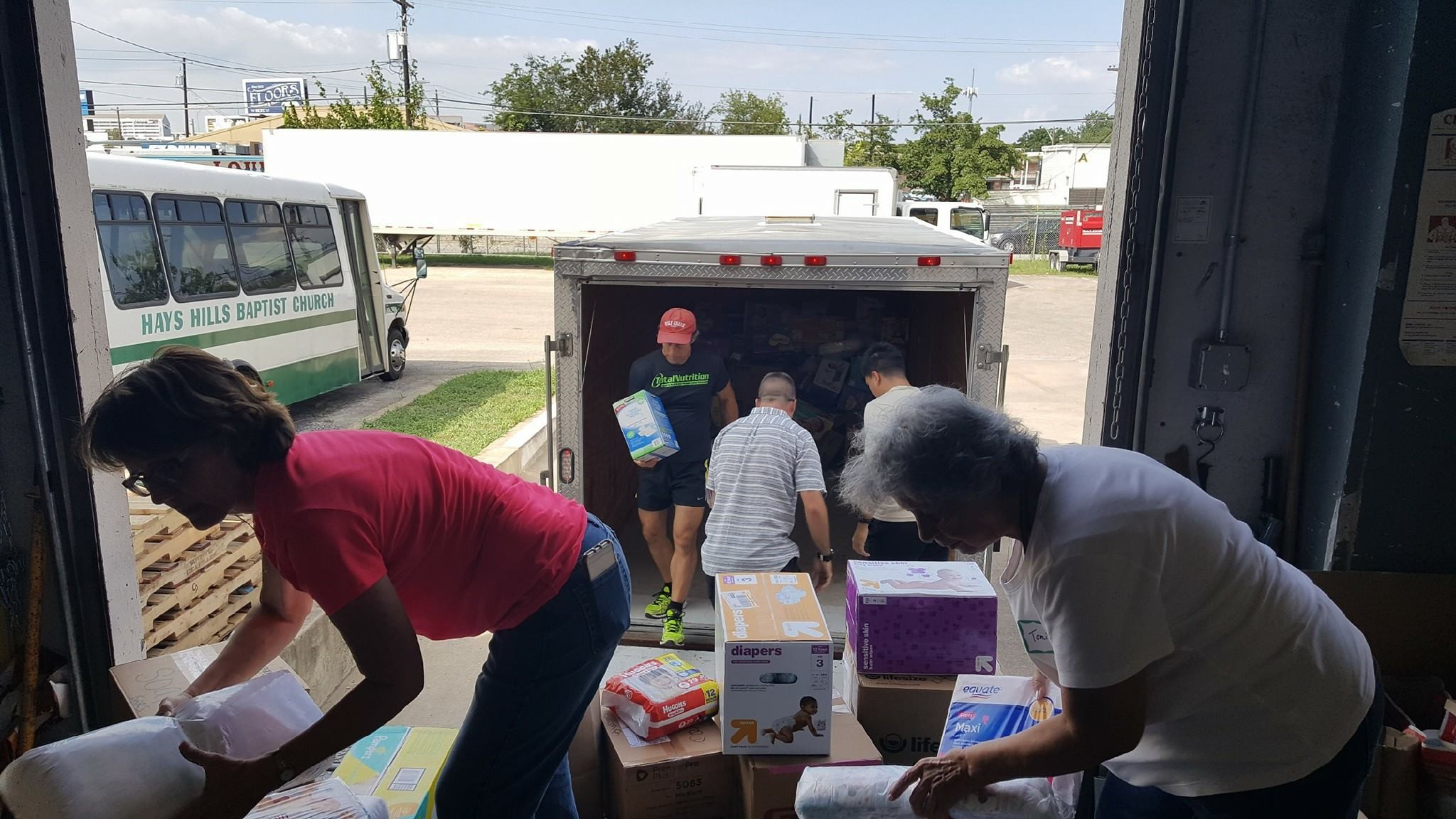 John Squires with Keller Williams Realty partnered with the Circle C Ranch HOA to deliver diapers and toiletries to help the Austin Disaster Relief Network survivor supply drive.