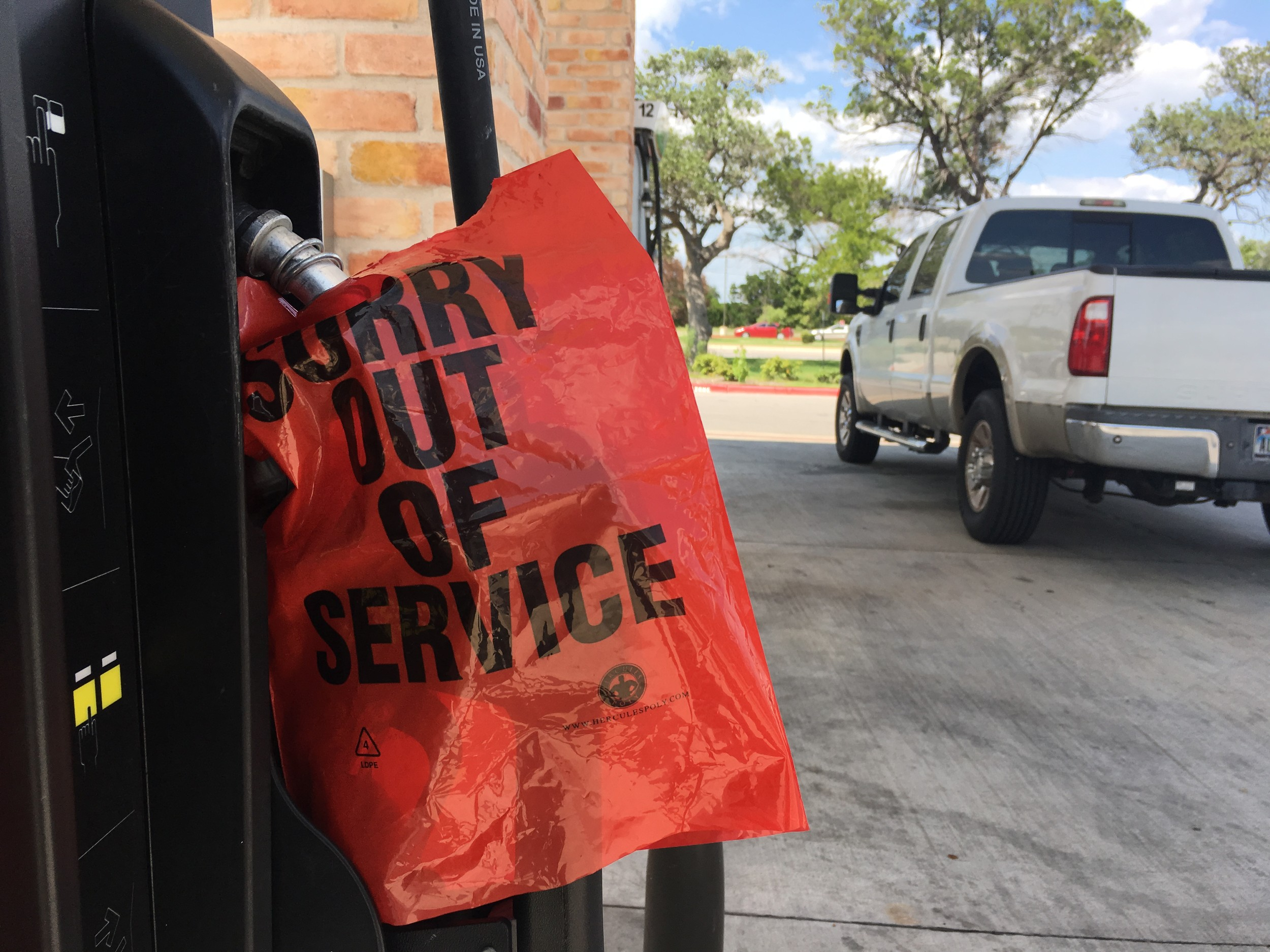 A 7-Eleven in Cedar Park ran out of gas Thursday. Officials say an increased public demand following rumors of gas shortages from the effects of Hurricane Harvey caused the shortages.