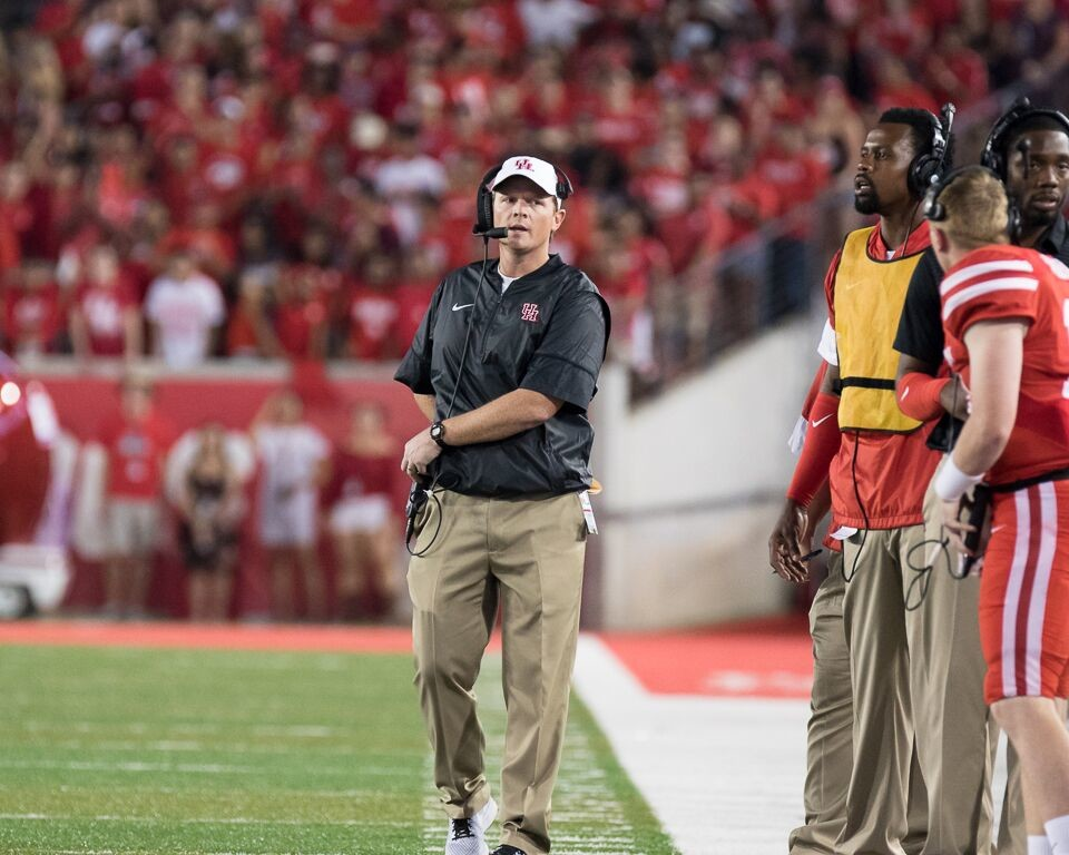 Houston's first-year coach Major Applewhite will face a formidable test this Saturday as the Cougars host Texas Tech, coached by former Houston quarterbacks coach Kliff Kingsbury.