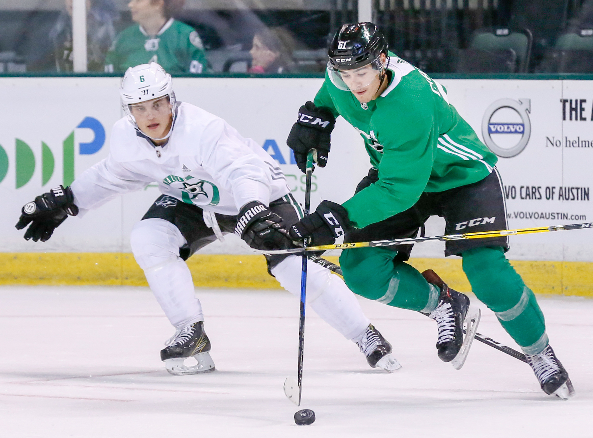 Defender Julius Honka, left, and Nick Caamano were two of the players that stood out to the NHL coaches as the Dallas Stars hosted their training camp at the NEB Center this weekend.