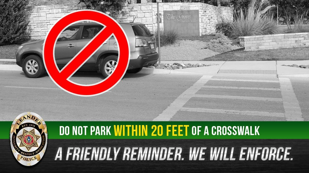 Starting Oct. 1, a new law targeting unlawful parking of unoccupied vehicles in Leander will take effect. Parking within 20 feet of a crosswalk or within 15 feet of a fire hydrant are among citable violations of the law.