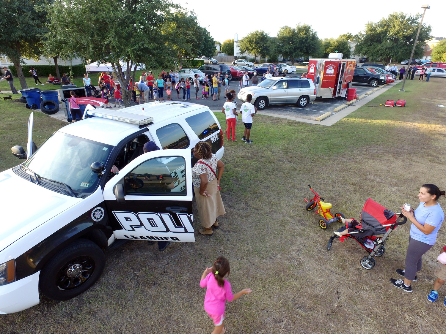 The goal of the Leander and Cedar Park police departments is to visit each participating neighborhood during National Night Out. The city fire departments, EMS and government officials will also frequent some of the gatherings.