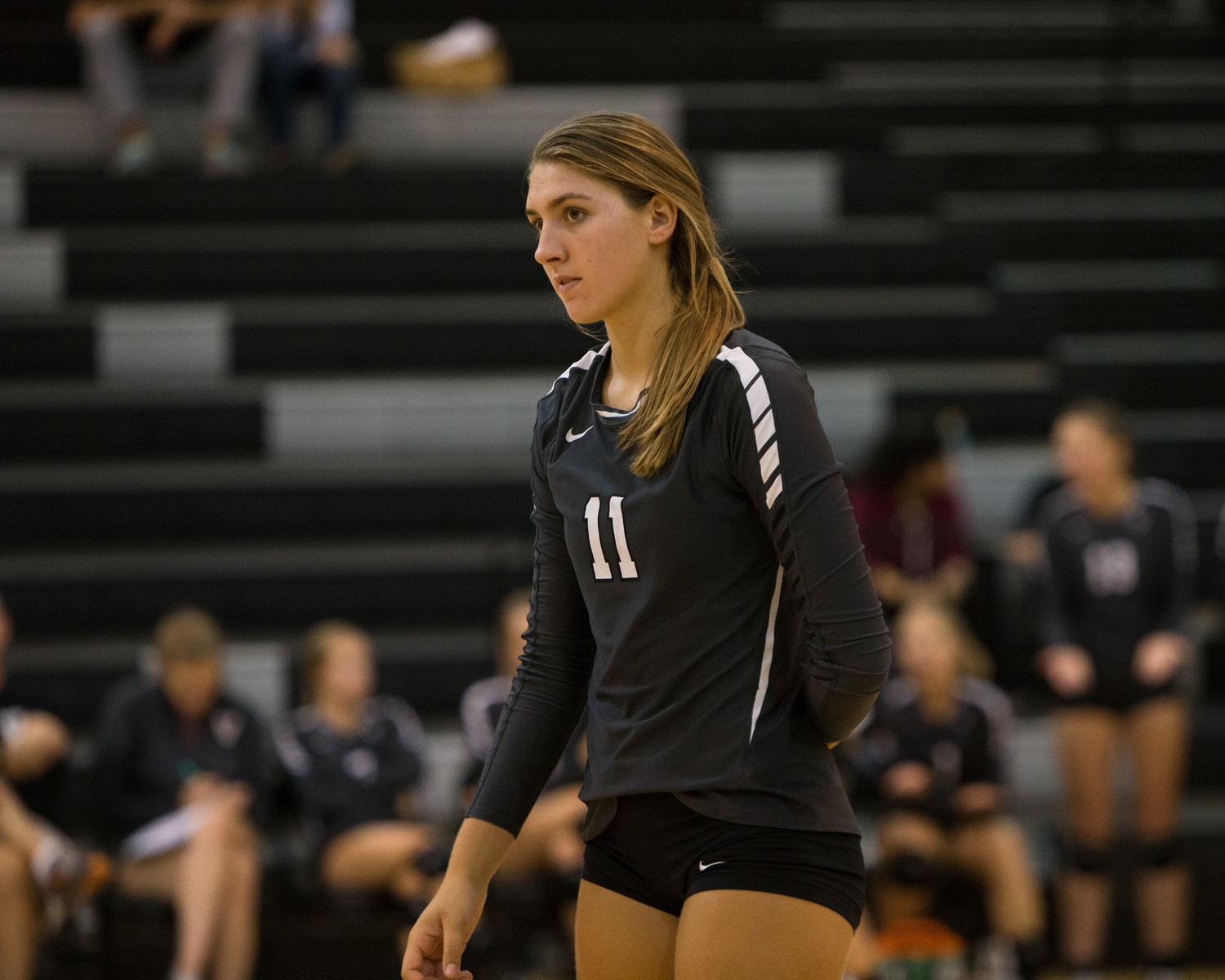 Vandegrift Vipers senior outside hitter Simone Priebe (11) in action during Leander ISD's annual Volleypalooza tournament at Vandegrift High School in Austin, Texas, on Thursday, August 24, 2017.