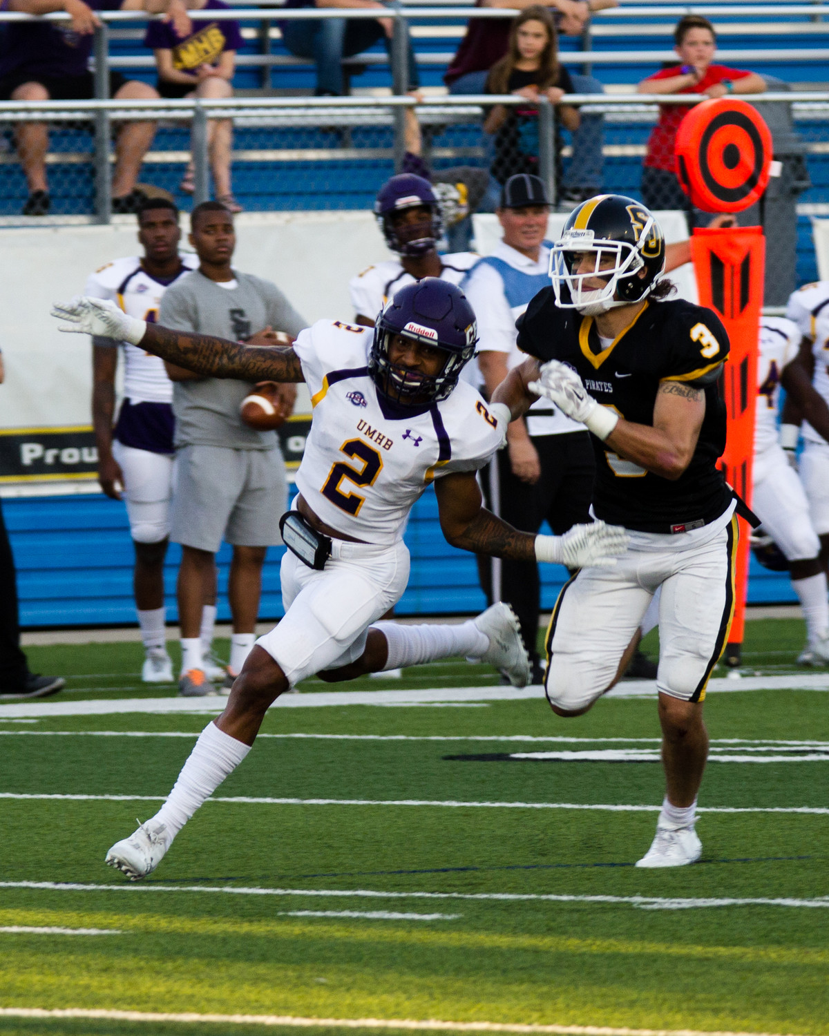 UMHB cornerback Kris Brown (2) had five tackles and returned a fumble 25 yards for a touchdown in Saturday's win over Southwestern. Brown is from Sealy High School.