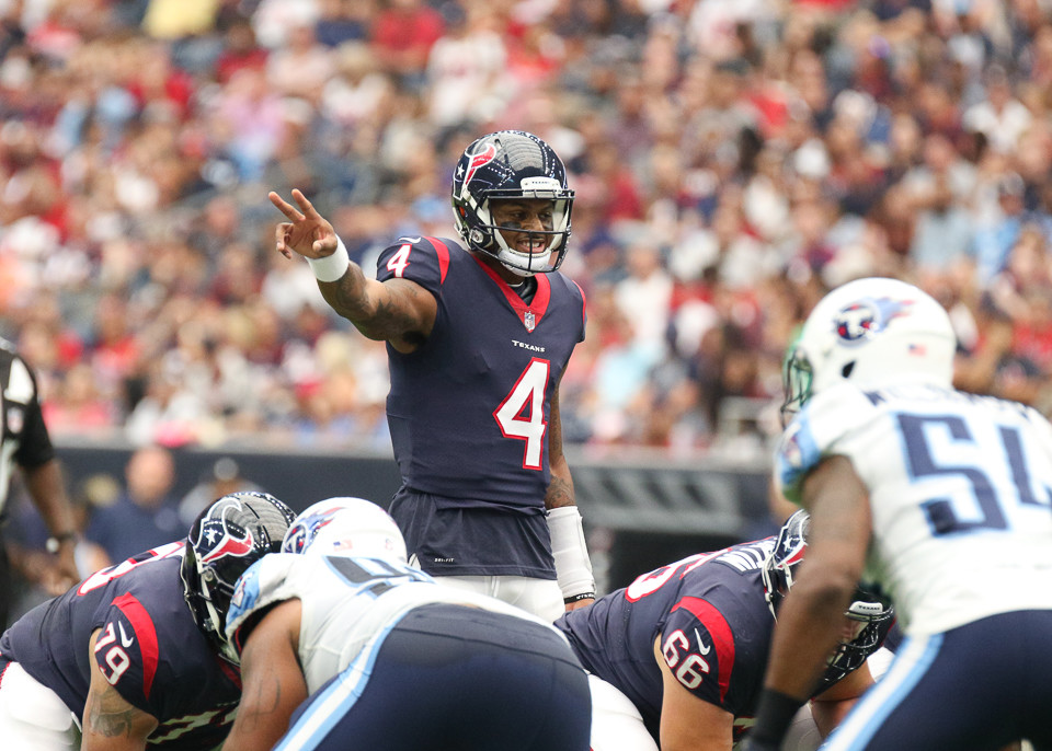Houston Texans quarterback Deshaun Watson (4) during the second quarter of an NFL game between the Houston Texans and the Tennessee Titans at NRG Stadium in Houston, Texas.