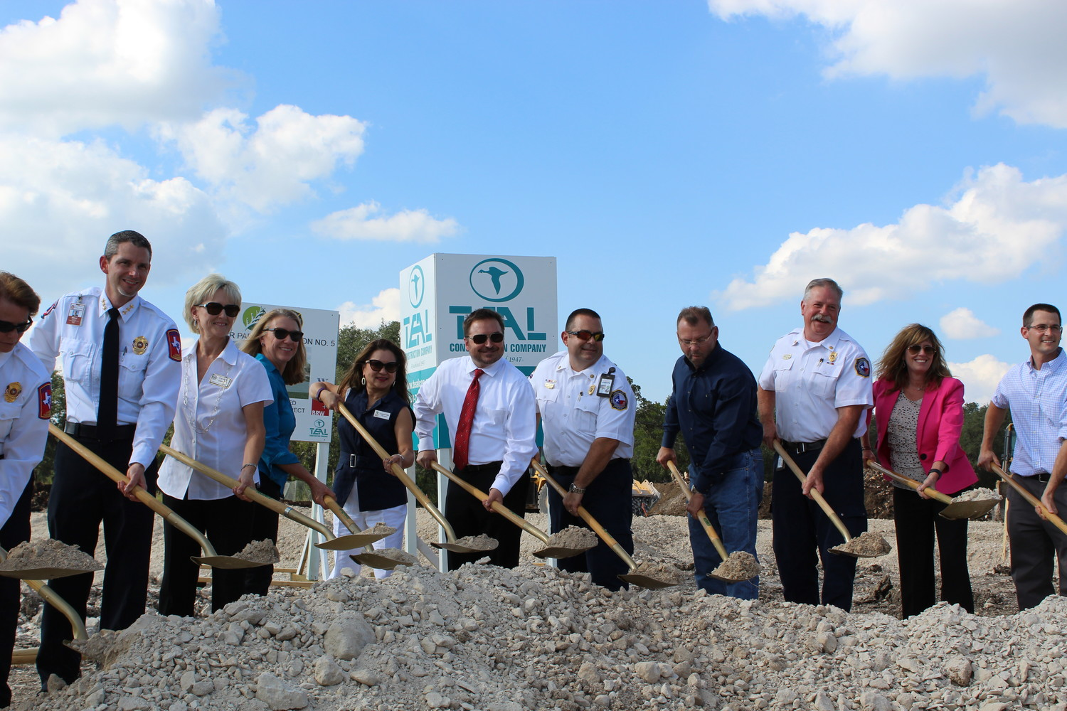 Cedar Park and Williamson County officials break ground at the construction site of Fire Station No. 5 at 1501 Cottonwood Creek Trail, Monday, Oct. 2. The station will serve the growing north and northeast areas of Cedar Park and will house both CPFD and WilCo EMS.