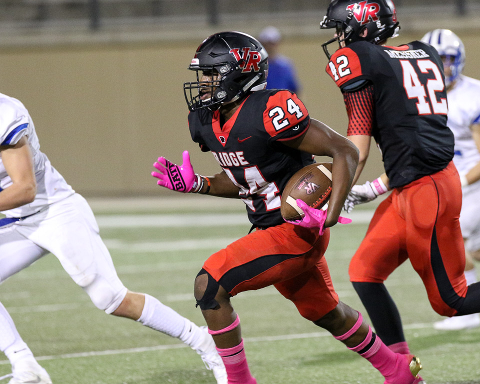 Vista Ridge Rangers senior wide receiver Jamil Pittman (24) carries the ball during the high school football game between the Vista Ridge Rangers and the Leander Lions at Gupton Stadium in Cedar Park, Texas, on October 6, 2017.