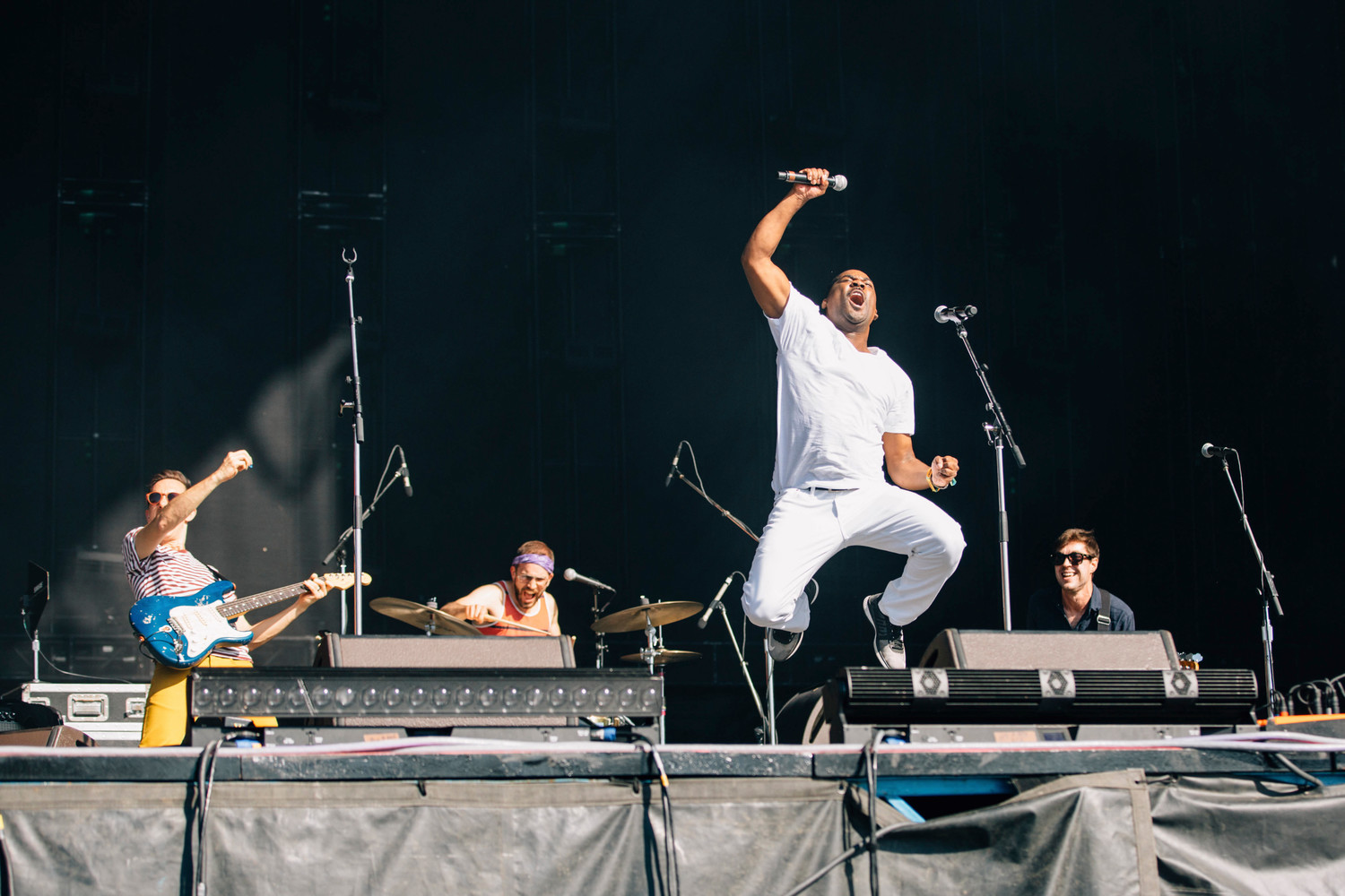 Antaun Stanley jumps as Vulfpeck perform at Austin City Limits, Friday, Oct. 6.