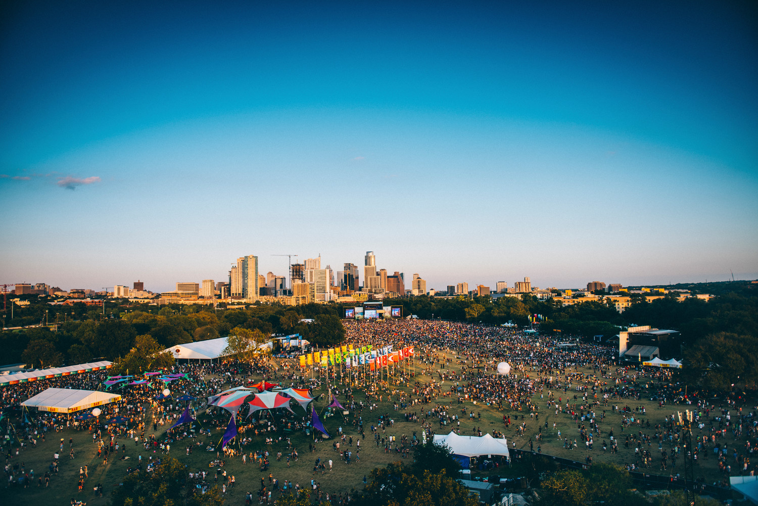 An aerial shot of Austin City Limits Weekend One, Saturday, Oct. 7.