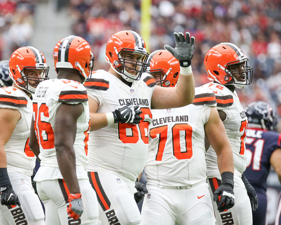 Cleveland Browns offensive guard Spencer Drango (66) signals to the referee that he will be an eligible receiver on the upcoming play during the first quarter of an NFL game between the Houston Texans and the Cleveland Browns at NRG Stadium in Houston, Texas.