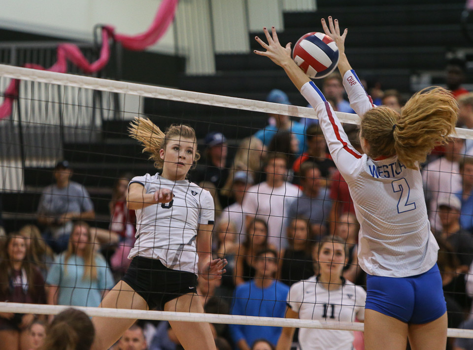 Vandegrift Vipers sophomore middle blocker Annie Stadthaus (6) during a high school volleyball game between the Vandegrift Vipers and the Westlake Chaparrals at Vandegrift High School in Austin, Texas, on October 24, 2017.