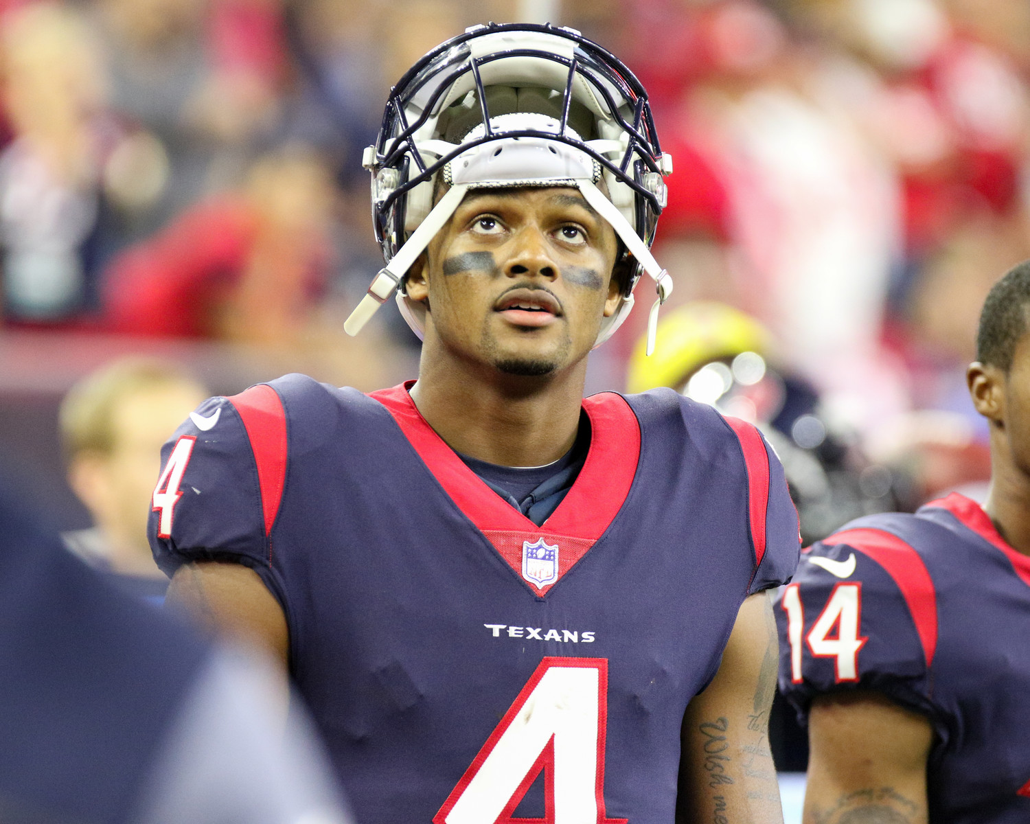 Houston Texans quarterback Deshaun Watson (4) looks up at the video board during the fourth quarter of an NFL game between the Houston Texans and the Kansas City Chiefs at NRG Stadium in Houston, Texas. The Chiefs won 42-34.